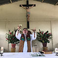 Jesuit Father Alfredo Ferro celebrates Mass July 14, 2019, in the indigenous community of Nazaret, Colombia.